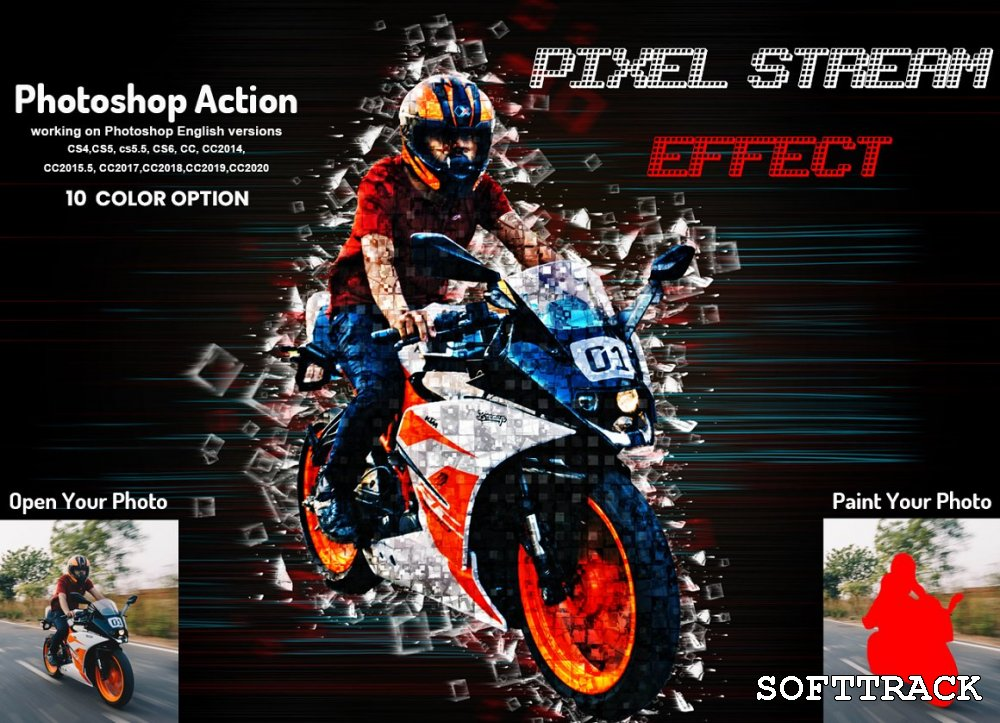 Pixel Stream Effect Photoshop Action